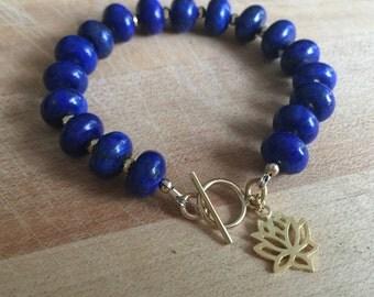 Lapis Bracelet - Navy Blue Gemstone Jewellery -Lapis Lazuli Jewelry - Gold Pyrite - Lotus Flower Charm