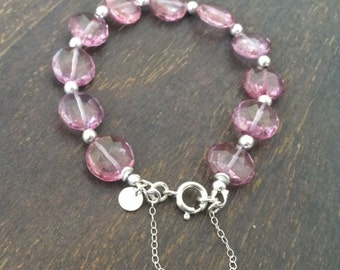 Pink Bracelet - Topaz Jewelry - Gemstone Jewellery - Sterling Silver - Safety Chain - Luxe