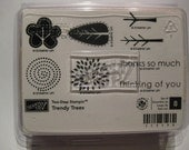 Stampin Up - Wood Mounted Rubber Stamps - Set of 8 - Trendy Trees