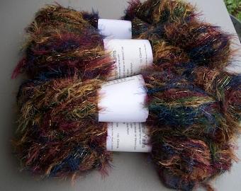 Fun Fur Yarn Fall Colors with Sparkle  #210 by Artisanal Yarns