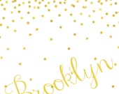 "Personalized Soft Fleece Swaddle Blanket - Gold Star Confetti - 29"" X 39"""