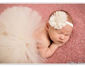 Ivory baby tutu newborn full fluffy matching fabric flower headband with pearl cluster