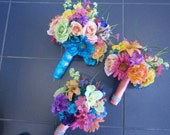 18 pc. set Beach Tropical Wedding Flowers (1) Bridal Bouquet (2) Maid (4) corsage (10) bout. Lime Turquoise Coral Pink Orange Yellow Purple