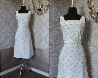 Vintage 1970's White Floral Sundress XL