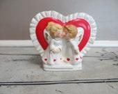 Vintage Lefton Planter Heart Planter Angels Kissing Lefton Vase Heart Vase Anniversary Gift Valentine Gift 967 Collectible Planter