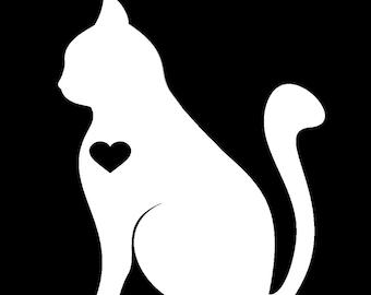 Cat Heart I Love Cats Vinyl Decal - Cat Decal - Kitty Kitten Decal