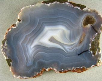 Gray-Blue n White Luna Agate Slab RS0291