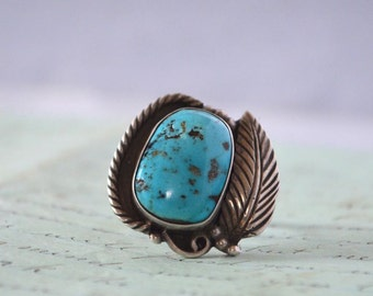 Vintage Navajo Turquoise Ring - Size 8