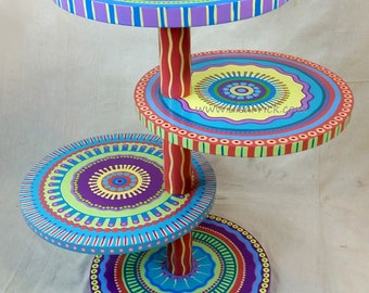Mandala Side Table- Tropical Colors, Four Shelves- Custom Painted to Order