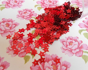 Sequins Stars Red Paillettes