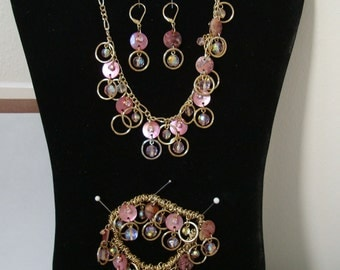 14-17 inch CHAIN necklace with dropping beads and loops. EARS and  BRACELET match, pinks & golds, condition is new see description.