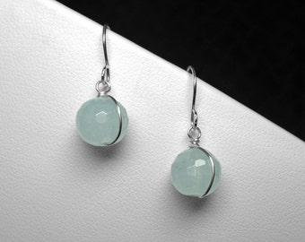 Aquamarine Earrings in Silver, 10 mm