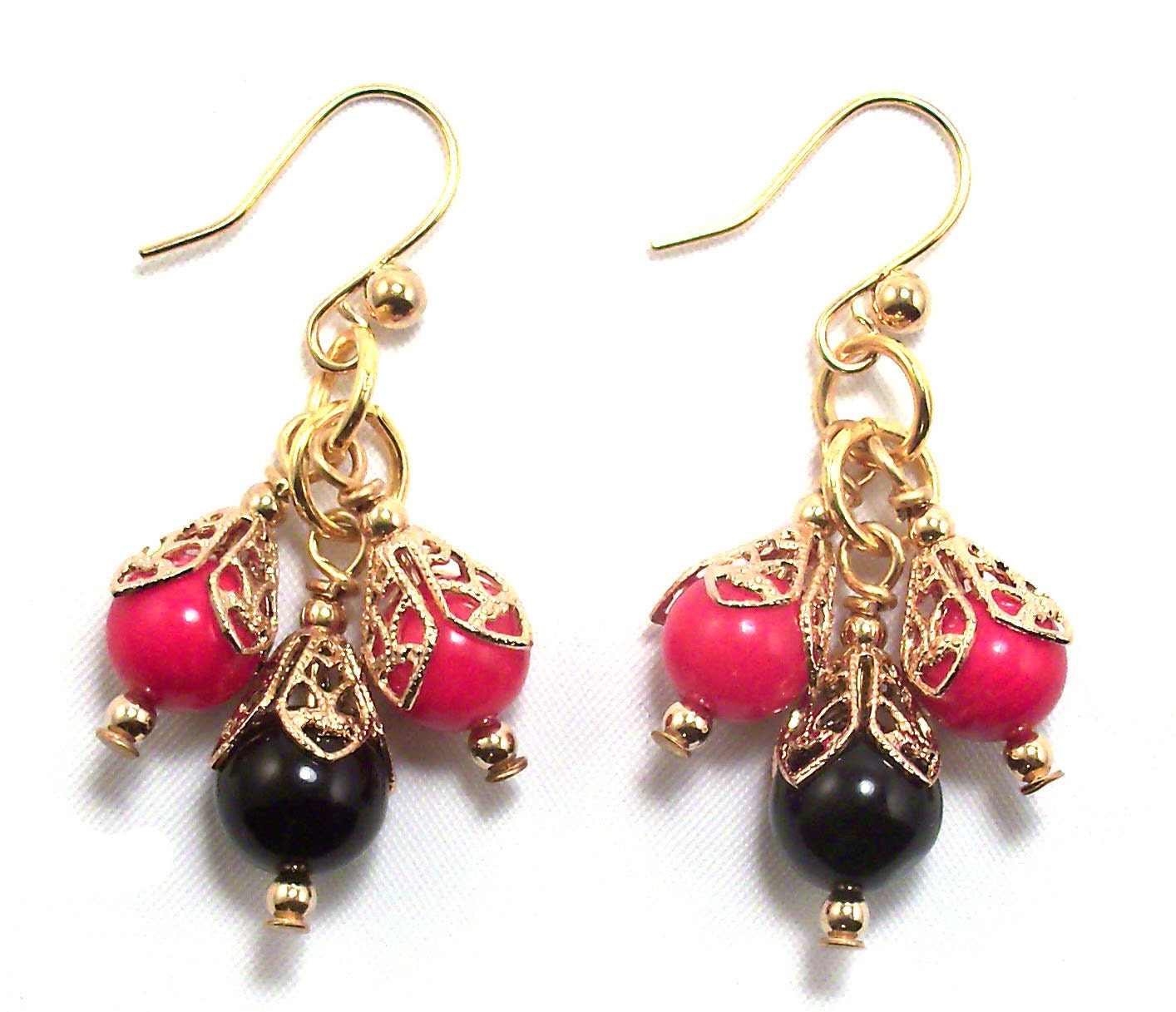 Red Coral Chandelier With 3 Lights: Red Coral & Black Obsidian Chandelier Earrings With Gold