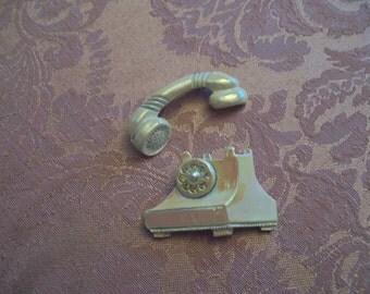 Vintage Telephone Pin Brooch 2pc Iridescent White Mid Century
