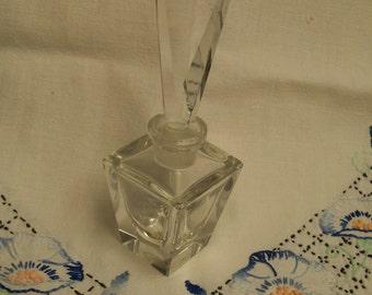 Lead Crystal Perfume Bottle Vintage Hand Cut Western Germany