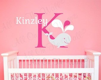 Wall Decal Monogram Whale Wall Decal Baby Girl Name Nursery Vinyl Lettering Bathroom Decals Ocean Personalized Decor Children Kids