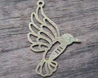 10 Brass Hummingbird Charms 27mm