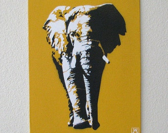 Elephant Yellow Multilayer Graffiti Stencil Art on Canvas Board 8x10