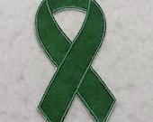 Dark Green Awareness Ribbon - MADE to ORDER - Choose SIZE - Tutu & Shirt Supplies - fabric Iron on Applique Patch 7019