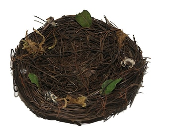3 pc 5 Inch Nest with Vines and Leaves (22072), Vine Nest, Bird Nests, Floral Nests, Floral Accent