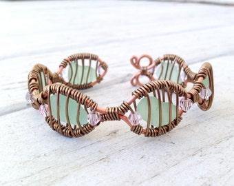 Sea Foam Green Sea Glass and Swarovski Crystal Wire Wrapped Adjustable Bracelet