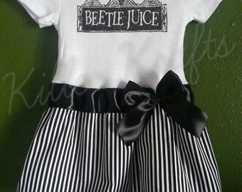 Beetlejuice inspired baby girl outfit stripes