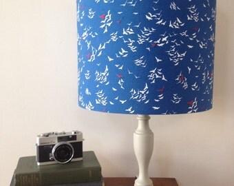 Blue bird drum lamp shade, red bird hand stitched detail, flying bird lampshade, standard lamp