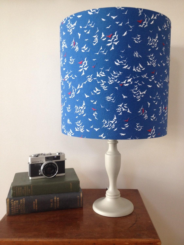 blue bird drum lamp shade red bird hand stitched detail. Black Bedroom Furniture Sets. Home Design Ideas