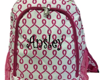 SALE Personalized Swirls Backpack - Girls Canvas Booksack Hot Pink & White with Geometric Pattern Backpack Monogrammed FREE