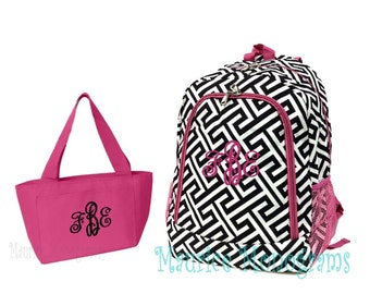 Personalized Greek Key Backpack and Lunch Tote Set  Geometric Print with Hot Pink Trim Full Size Bookbag & Lunch Tote Monogrammed FREE