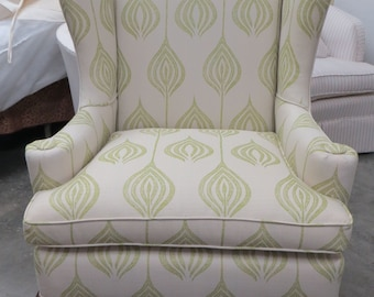 End of Summer Special - Traditional Wing Chair in Ottoman Tulip w/Pillow = Totally Refurbished
