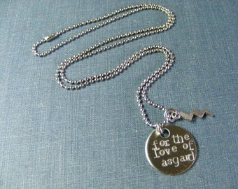 For the Love of Asgard Necklace:  Thor Inspired Hand Stamped Pendant with Stainless Steel and Lightning Bolt Charm
