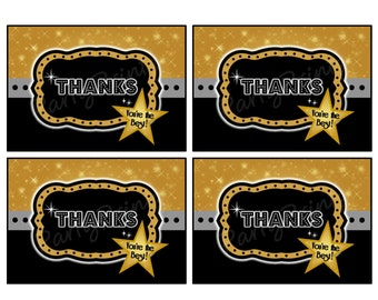 INSTANT DOWNLOAD -  Thank You Cards - Printable - Movie Night - Hollywood - Academy Awards - Oscar Night