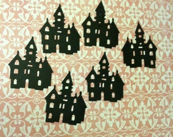 25 BLACK SCARY MANSION Hand Punched Halloween Die Cuts Confetti, scrapbooking, cards