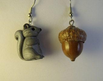 Grey Squirrel and Acorn  Earrings