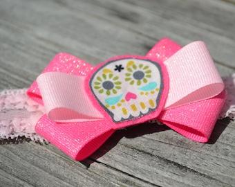 Infant, Fuchsia, Bonehead, Bow, Pink, Stretchy Lace, Headband