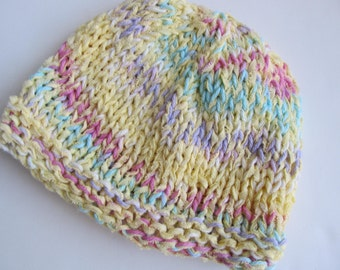 Cotton Handknit Hat, Yellow and Pastels, Toddler or Young Child, Chemo Cap
