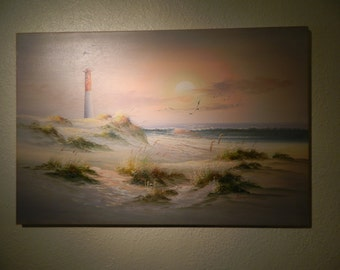 Vintage Original Oil Painting Seascape, Beach Scene, Lighthouse Ocean Scene Signed Art