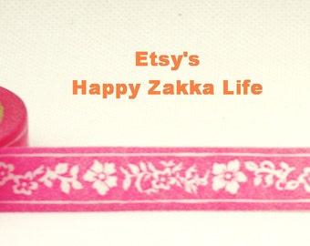 Japanese Washi Masking Tape - Pink Rose Ribbon - 11 yards