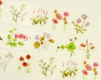 Japanese Washi Masking Tape - Summer Flowers - 30mm Wide - 7.6 yards