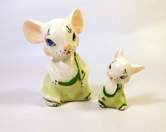 Vintage MOUSE FIGURINE / 2 MICE / Ceramic / Miniature - Small