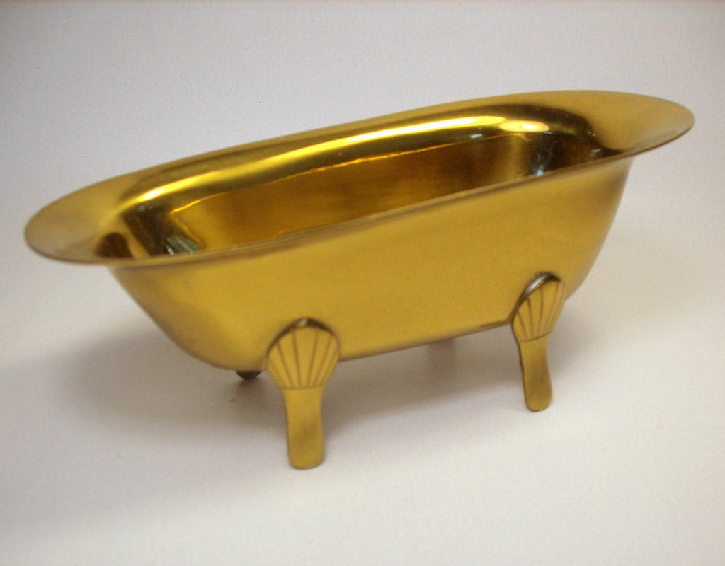 Vintage Brass Clawfoot Bathtub Soap Dish Small Bathroom