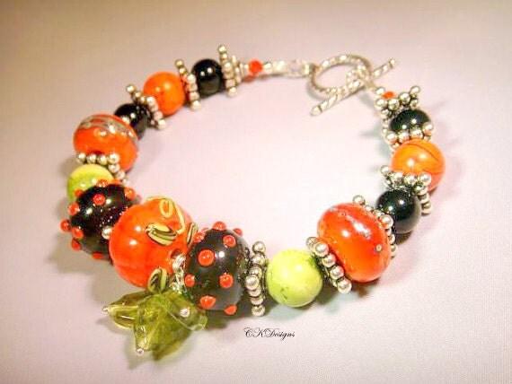 Pumpkin Patch Bracelet, Lampwork Beads, Czech Glass Beads Sterling Silver Beaded Bracelet. OOAK Handmade Bracelet.CKDesigns.US
