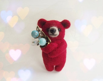 Little Red Bear with turquoise bouquet, Felted Animal Brooch, Bear Jewelry