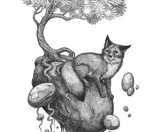 Fox Rocks - Original Fantasy Art Ink Drawing