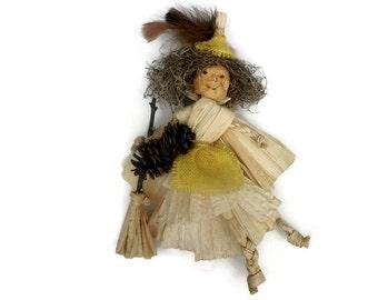 KITCHEN WITCH Doll Witch Corn Husk Apple Head Halloween Decor ooak HAGUILD