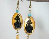 Cat Earrings Black Cat Golden Mother of Pearl Hand-Painted Cat Collector Aqua Long Dangles