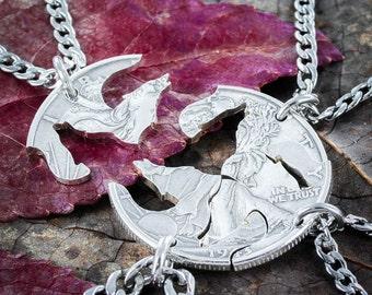 4 friends Wolf necklaces, Interlocking jewelry set, hand cut coin