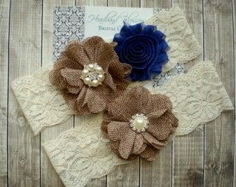 ROYAL BLUE Bridal Garter Set - Ivory  Keepsake & Toss Wedding Garters - Burlap Flower Pearl Lace Garters - Country Wedding - Something Blue