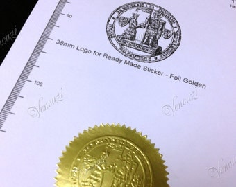 "2"" Serrated Ready Made Custom Logo Seal Sticker 100pcs Pack - Golden Foil (plus GIFT)"